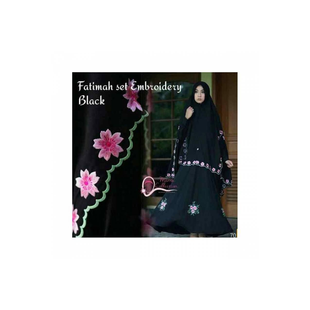 Gamis Dress Syari Fatimah Black Maxi Spandek Korea