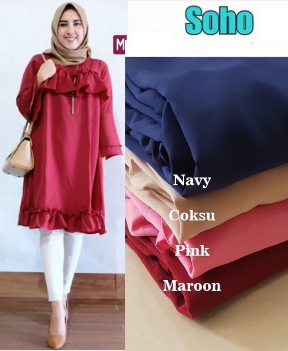 Baju Atasan Wanita Soho Tunik Blouse Baju Muslim Blus Muslim - latte ./baju wanita model baru barangnya bagus lembut ./ dan harganya murah barang berkualitas.