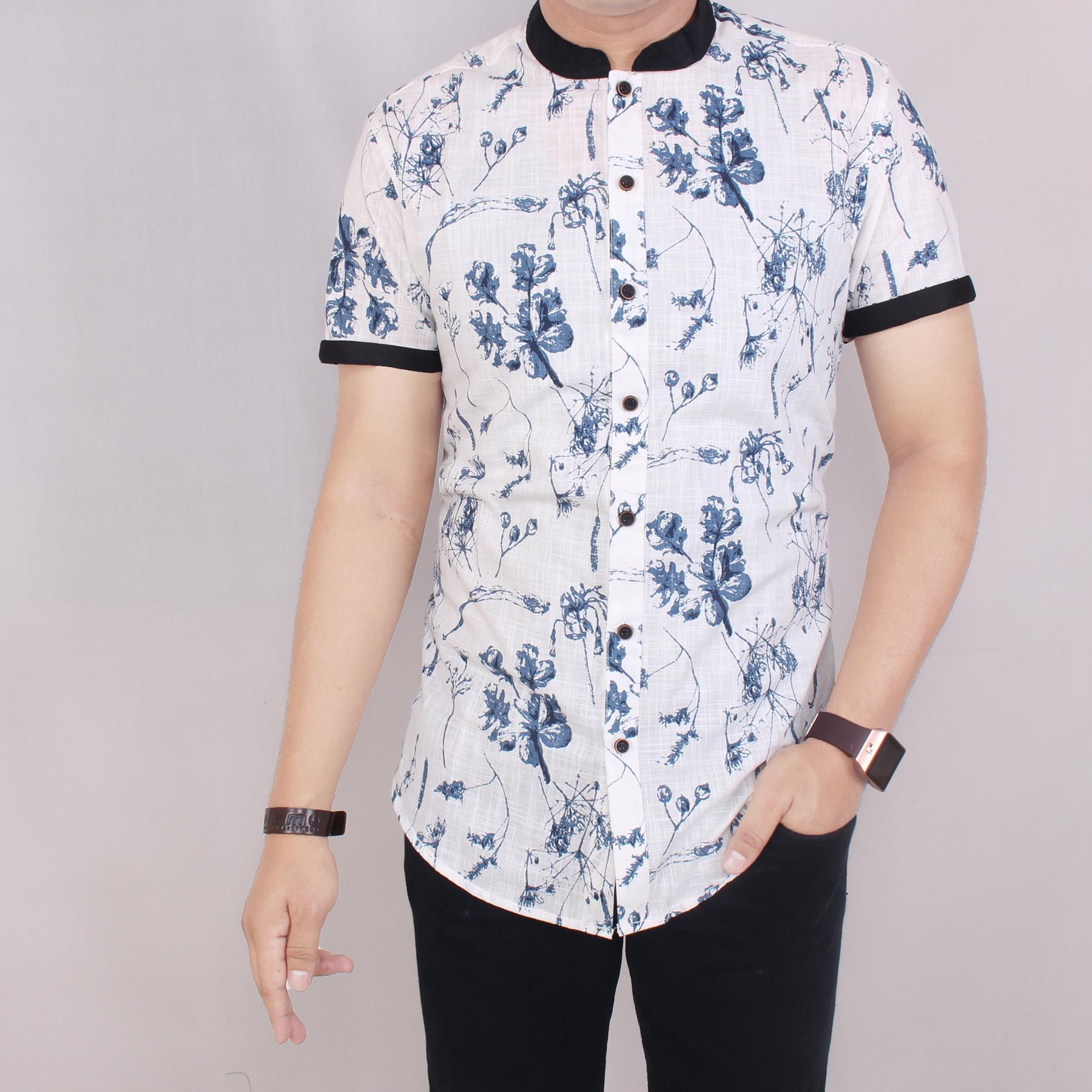 Zoeystore1 5616 Kemeja Printing Pria Lengan Pendek Exclusive Baju Kemeja Print Cowok Kerja Kantoran Formal Kemeja