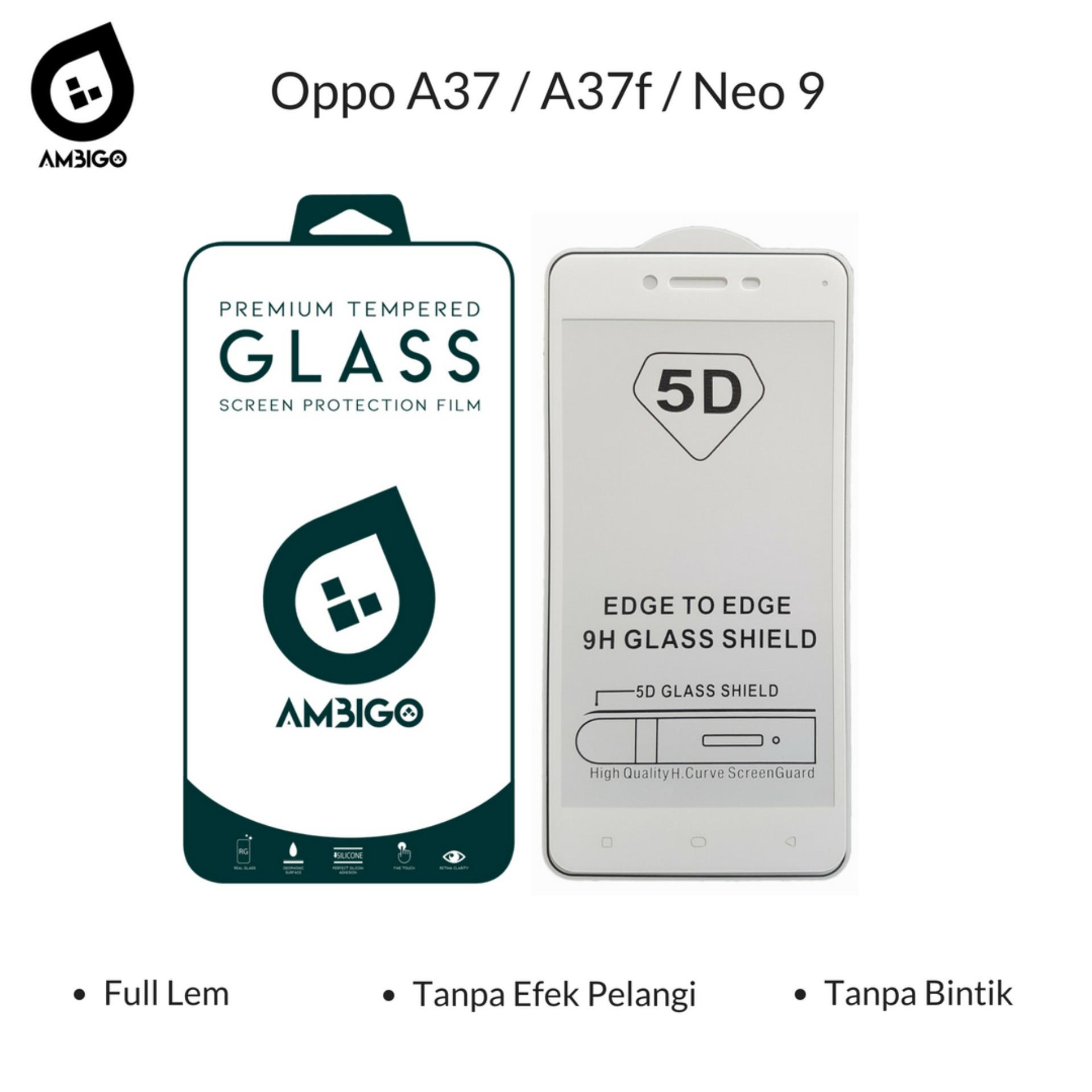 Gerai Acc Ambigo Tempered Glass 5D Full Cover Warna / Anti Gores Kaca Full Lem Untuk Oppo A37 / A37f / Neo 9 - White
