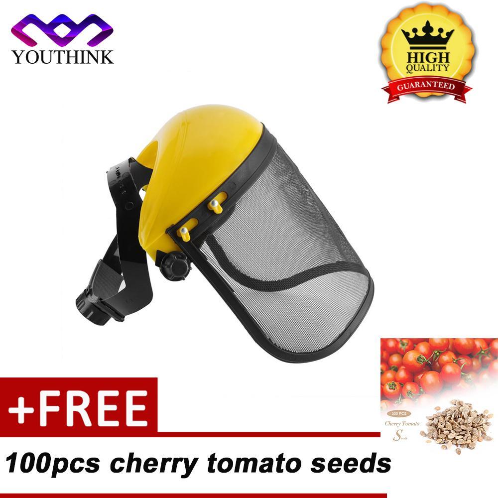 [Membeli 1 Mendapatkan 1 Gratis 100 Pcs Warna Merah Benih Tomat] Keselamatan Logging Brushcutter Kehutanan Helm dengan Penuh jala Wajah Masker Visor