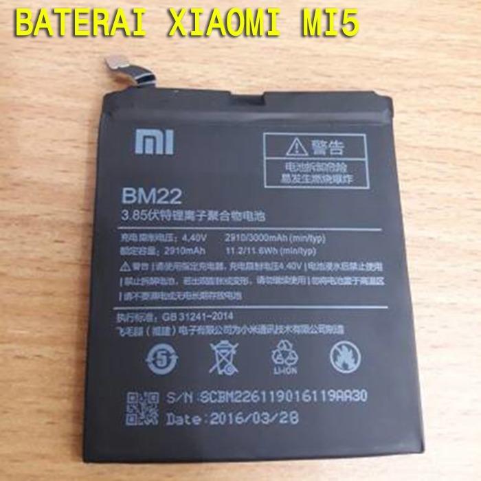 Baterai Xiaomi Mi5 Original Batre BM22 Hp Xiomi Asli Ori Battery Batray Batere Baru Xkomi Mi 5 BM 22
