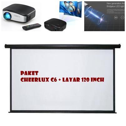 Paket Hemat Promo Proyektor + Layar 120 Inch Infokus Proyektor CHEERLUX C6 LED Projektor 1080p HD 800x480 1200 lumens Built TV TUNER Projektor + Layar Proyektor Wall 120 inch Screen Projektor Layar Infokus Paket Hemat