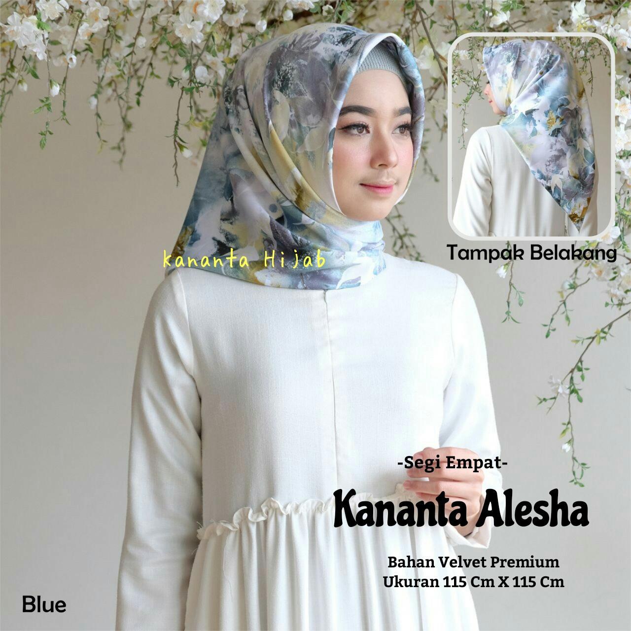 Jilbab Segi Empat Motif Bunga Abstrak Bahan Velvet Premium Kananta ALESHA