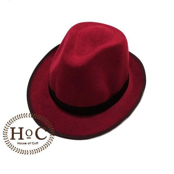 Houseofcuff Topi Fedora Hat RED MAROON FEDORA HAT LAKEN