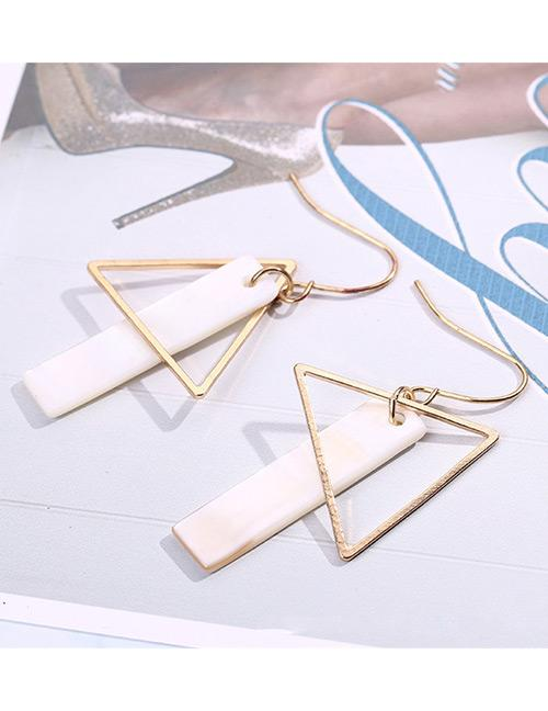 LRC Anting Gatung Fashion Gold Color+white Vertical Shape Decorated Long Earrings