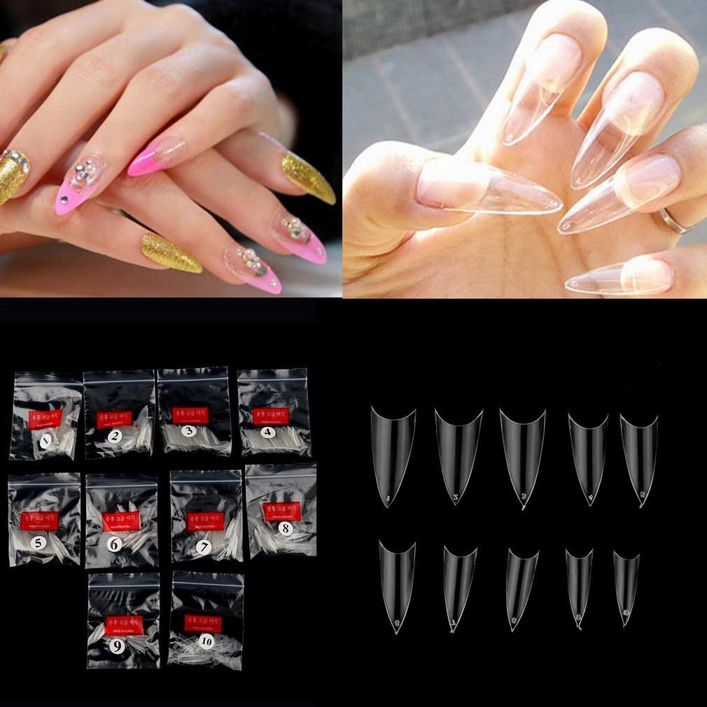 500Pcs Kiat Kuku Palsu UV Gel Acrylic Perancis Stiletto Point Transparan Nail Art Tips