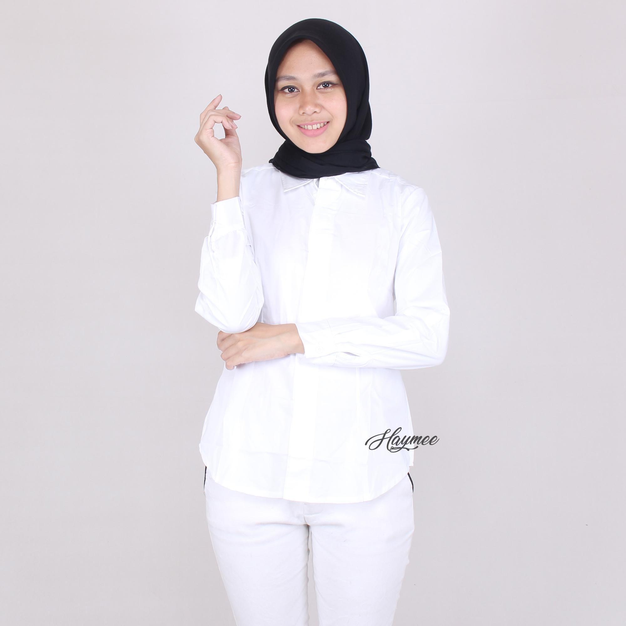 HaymeeStore Kemeja Putih Polos Wanita Baju Kantor Cewek Formal Atasan Kerja cewe Bahan Katun