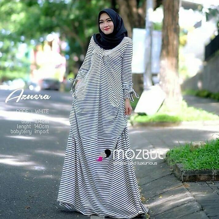 Baju Muslim Original Gamis Azuera Dress Babyterry Import Baju Panjang Muslim Casual Wanita Pakaian Hijab Modern Modis Trendy Terbaru 2018