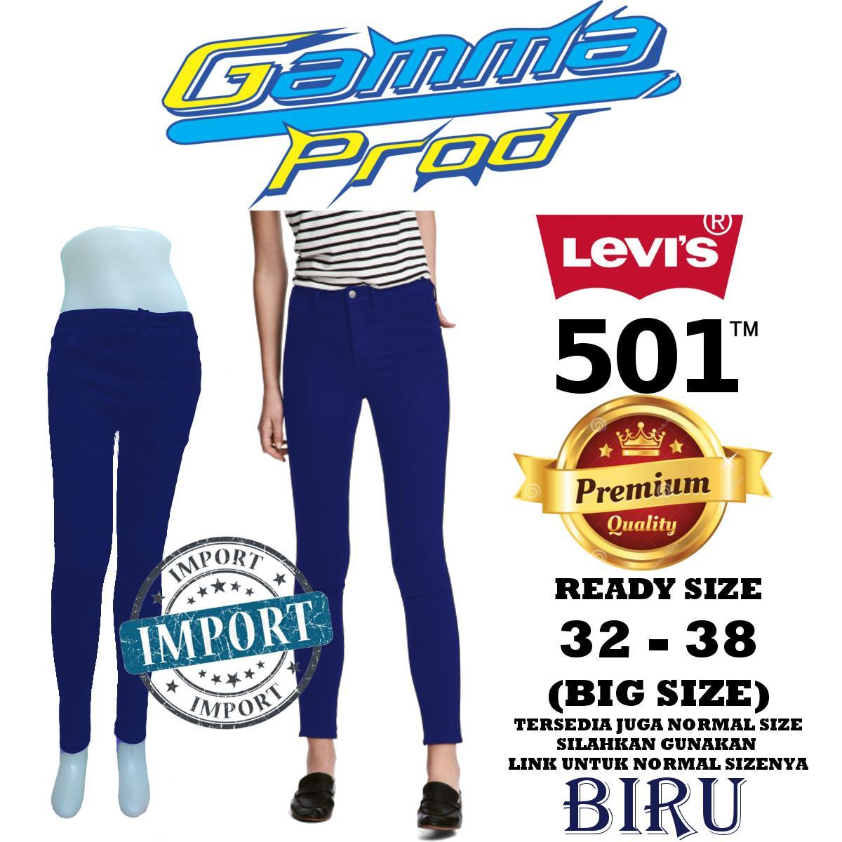 Celana Soft Jeans LEVIS 501 BIRU Skinny WANITA PREMIUM Zipper YKK BIG SIZE