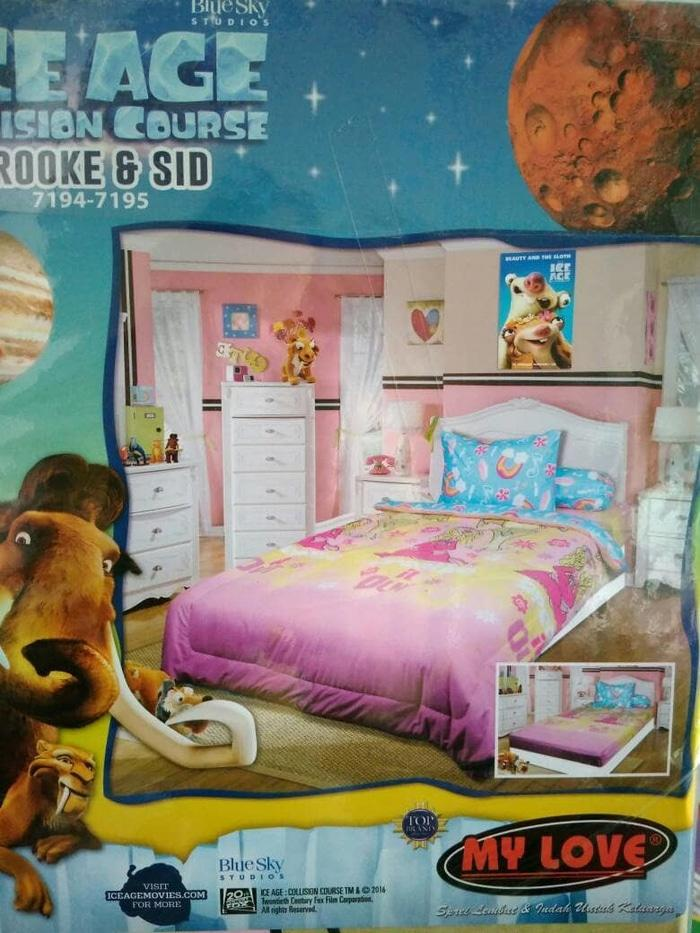 Sprei My Love Ice Age (brooke & Sid) No.3 Single 120 Seprai Sepray Bed By Yalstore.