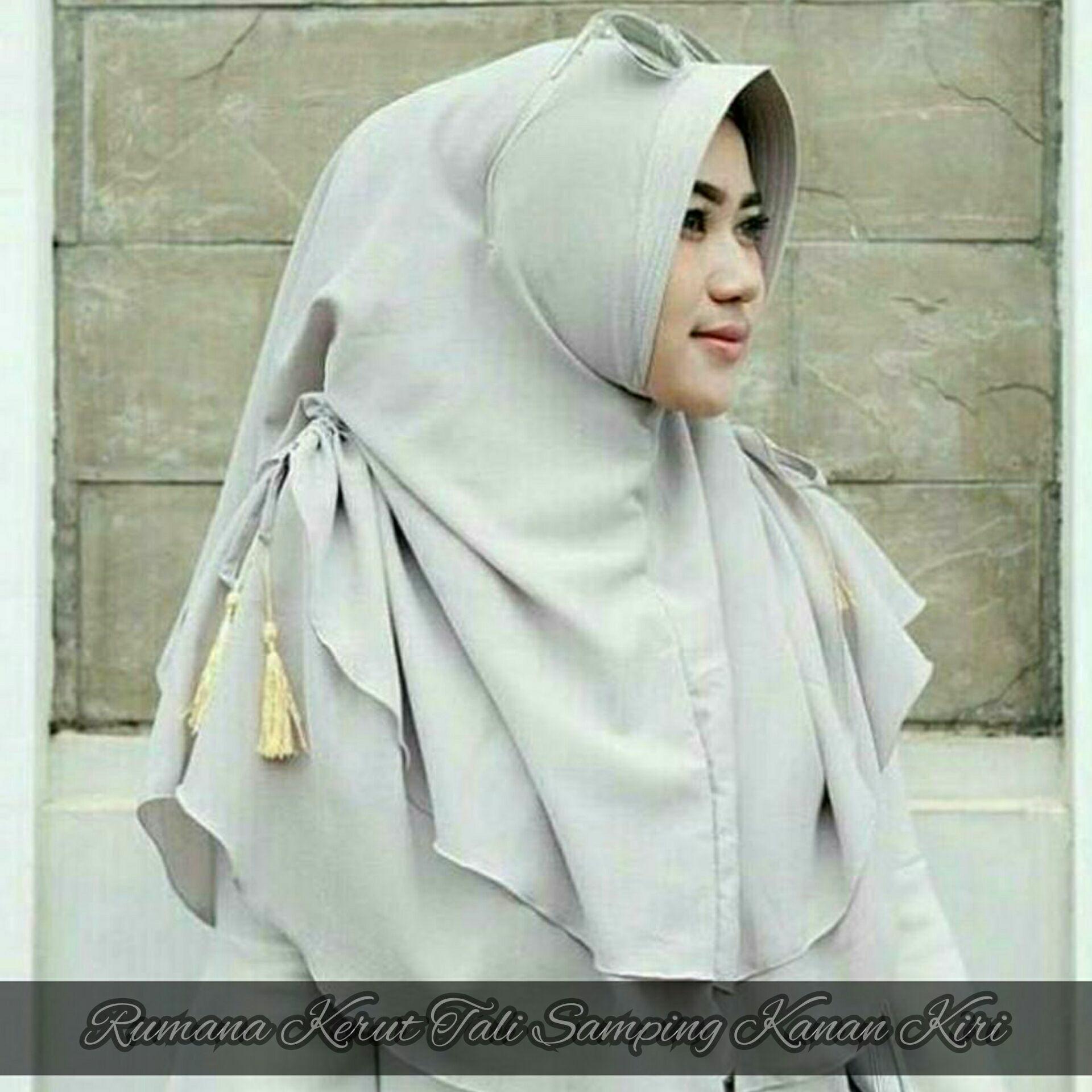 Hijab / Jilbab / Kerudung Rumana Kerut Tali Samping Kanan Kiri