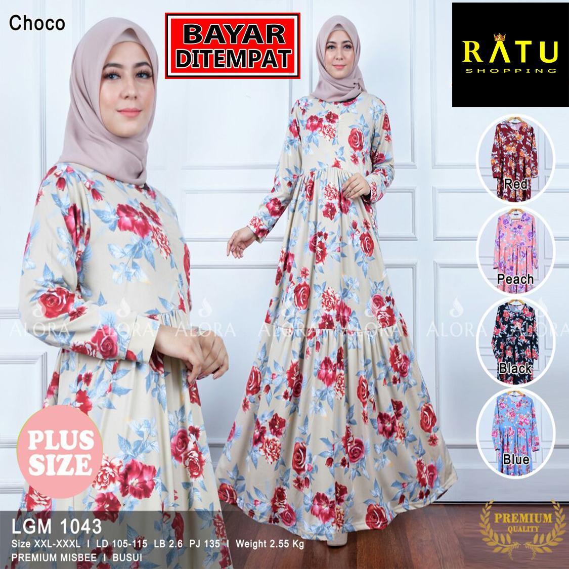 RATU SHOPPING Gamis motif bunga big size jumbo XXL XXXL super besar ramadhan ceria untuk lebaran LGM1043