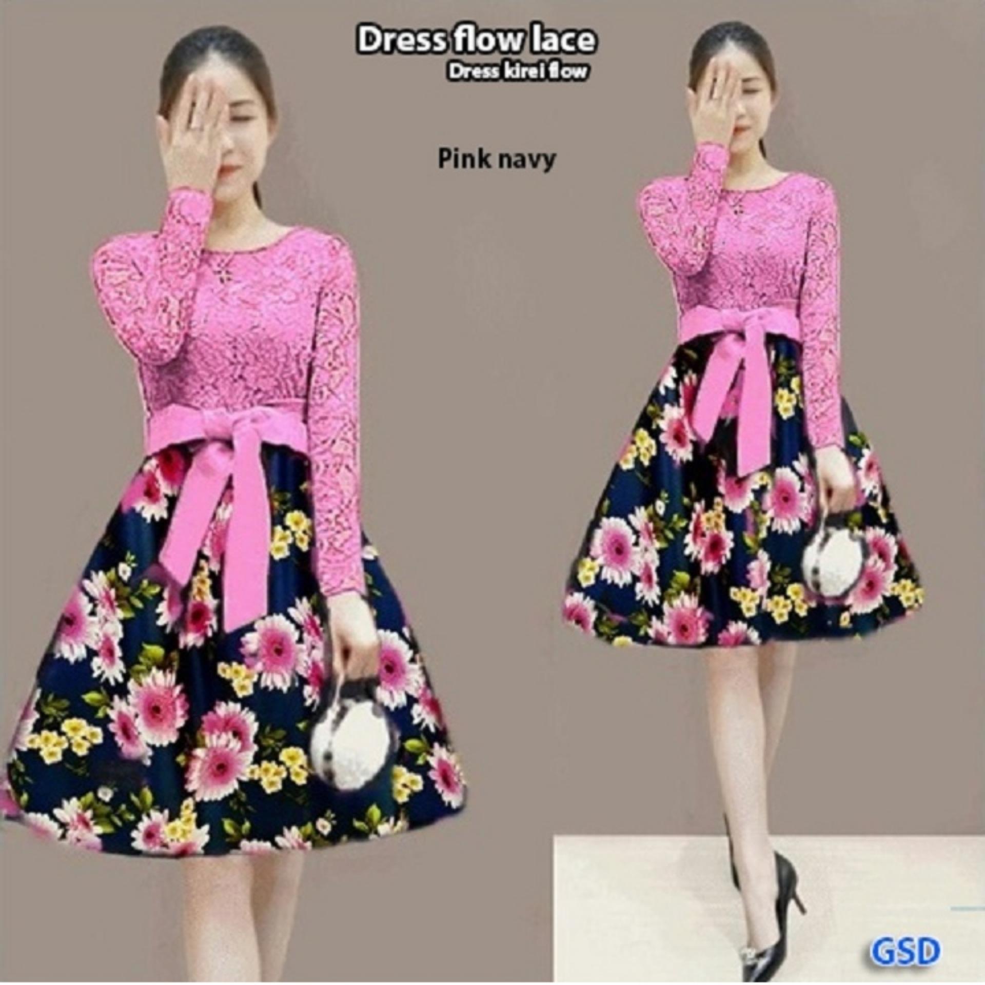 Baju wanita / dress / dress flow lace / dress kirei