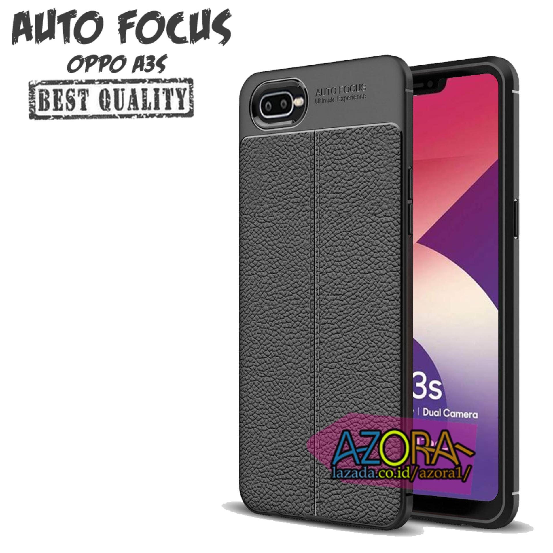 Case Auto Focus Oppo A3S 2018 Realme C1 sama ukuran Dual Camera Leather