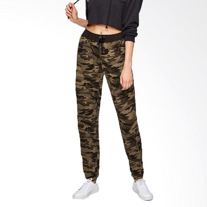 TINA Celana Joger Panjang Training Wanita Motif Loreng (Army)