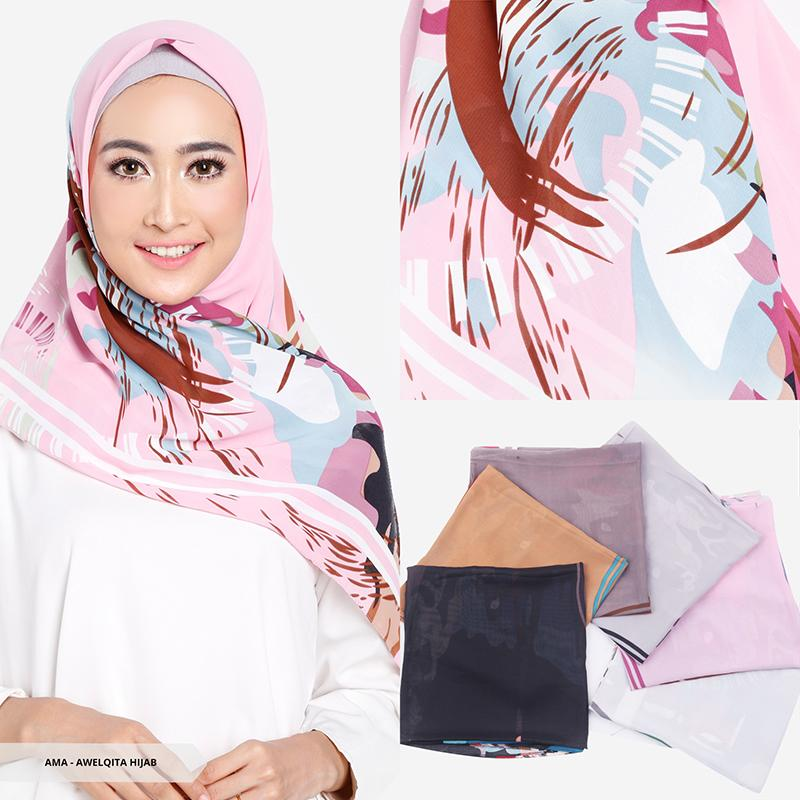 Awelqita Abstract Square Hijab-Dark Grey