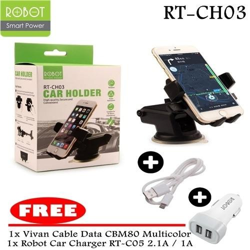 ROBOT Car Holder RT-CH03 High-quality,Secure And Convenient 360derajat Rotation - BLACK + FREE Vivan Cable Data CM80 Multiwarna + FREE Robot Car Charger RT-C05S