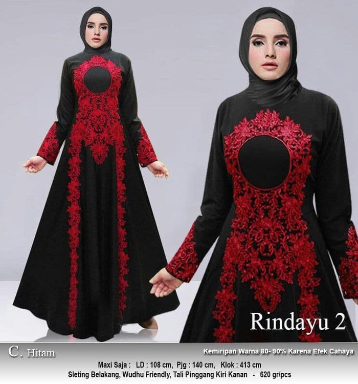 Kenzmal- Maxi Gamis Dress Baju Muslim Wanita  Pesta Yamini Hitam