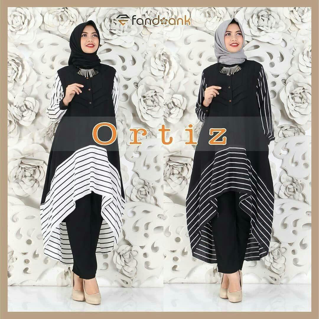 Setelan Ortiz Set Balotelly Mix Spandek Baju Wanita Hijab Trendy Celana Pants + Baju Atasan Panjang Setelan Jumpsuit Pesta Muslim Modern Modis Casual Trendy Baju Model Terbaru