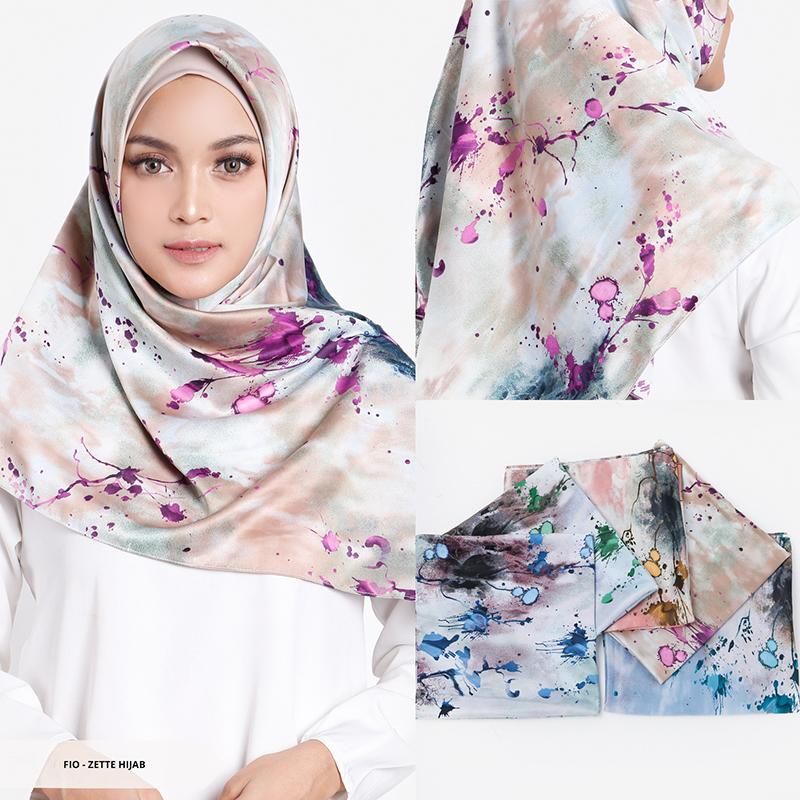 Zette Abstract Square Hijab - Green