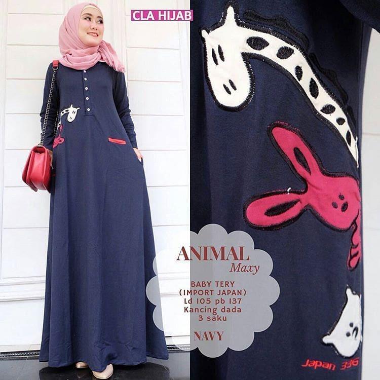Animal Maxy Bahan Babyterry Maxy Gamis Muslim Panjang Fashion Hijab Wanita Muslimah Pakaian Modern Fashionable Murah Terbaru