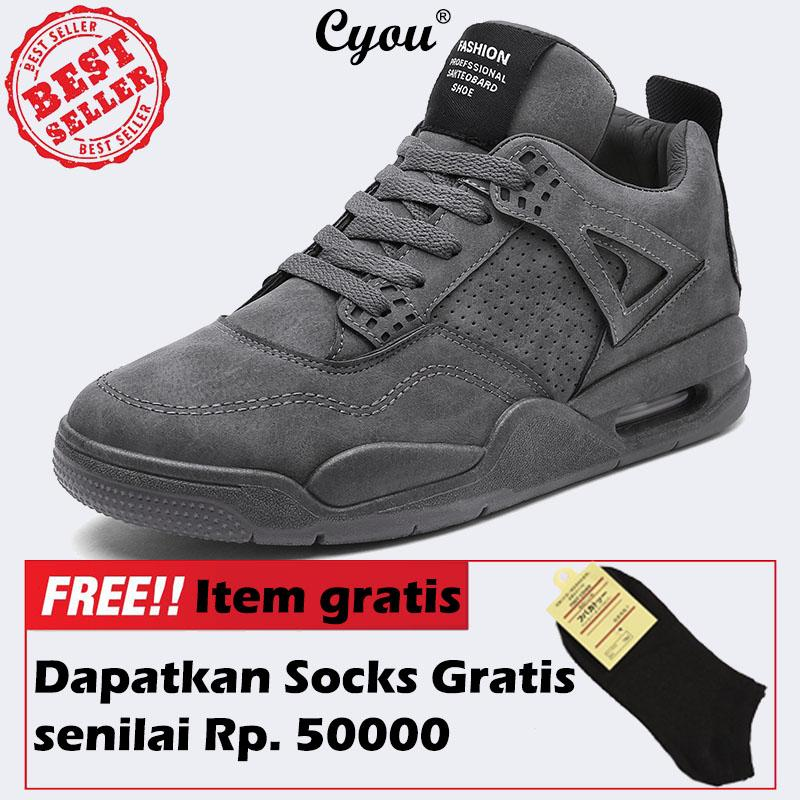 Cyou 2017 Baru Rendah Memotong Sepatu Lari Pria Olahraga Sneakers Asli Olahraga Luar Ruangan Datar Run Berjalan Jogging Trendi Sepatu Kasut Lelaki (grey) -Internasional By Cyou.