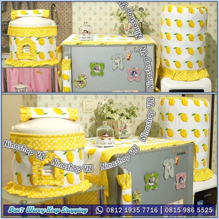 Sarung Galon, Cover Kulkas, Tutup Kulkas motif Yellow Lemon