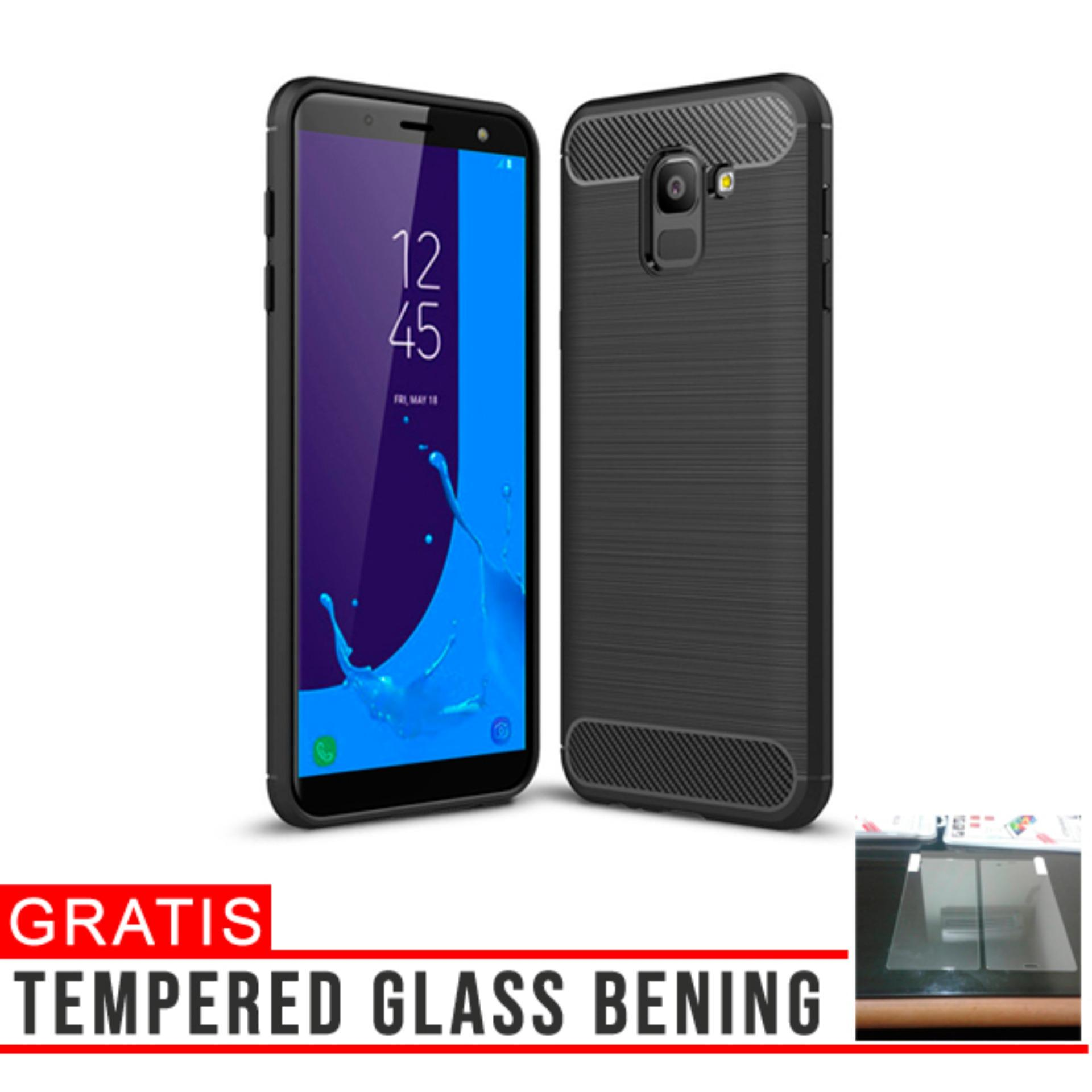 CASE SAMSUNG GALAXY J6 2018 PREMIUM CARBON BRUSHED RUGGED ARMOR BACK COVER