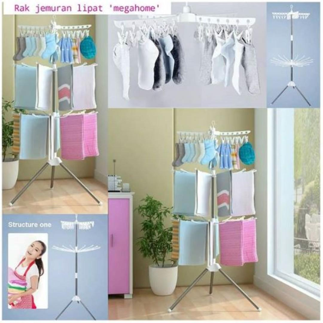 GROSIR- HOT PRICE Rak Jemuran Pakaian Portable Gantungan Stand Hanger Pakaian     tali