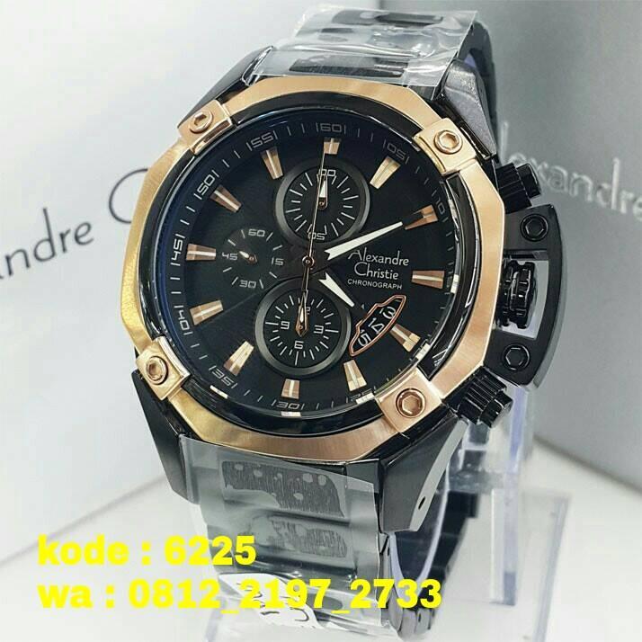 Alexandre Christie - Jam Tangan Pria - Leather Strap - Black - AC 6225 MC Black Gold Man