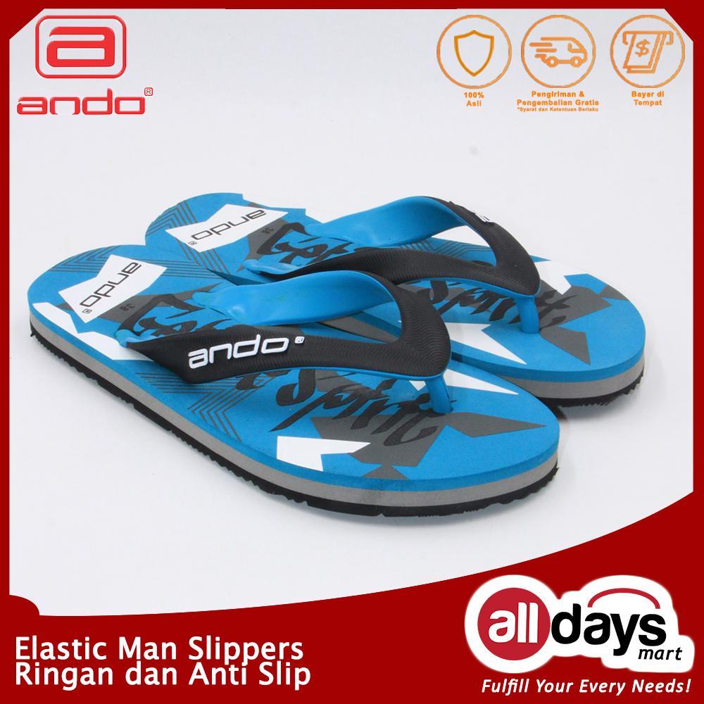Ando Sandal Jepit / Flip Flop Pria VIP 02 - Black/Tosca Size 38-42