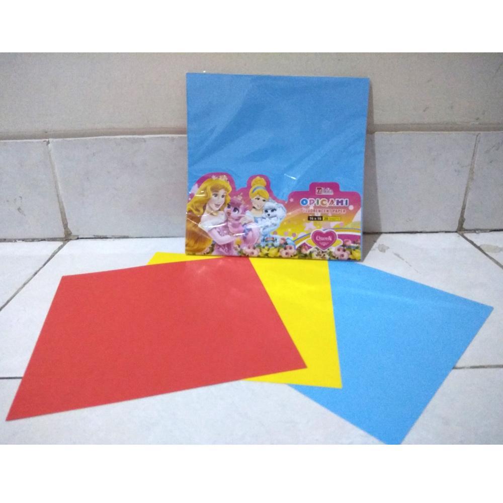 Kertas Origami 20 lembar - Origami Fluorencent Paper