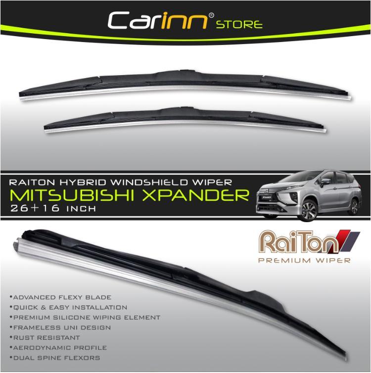 """Raiton Sepasang Wiper Hybrid Kaca Depan Mobil Mitsubishi Xpander 26"""" & 16"""" - 2"""