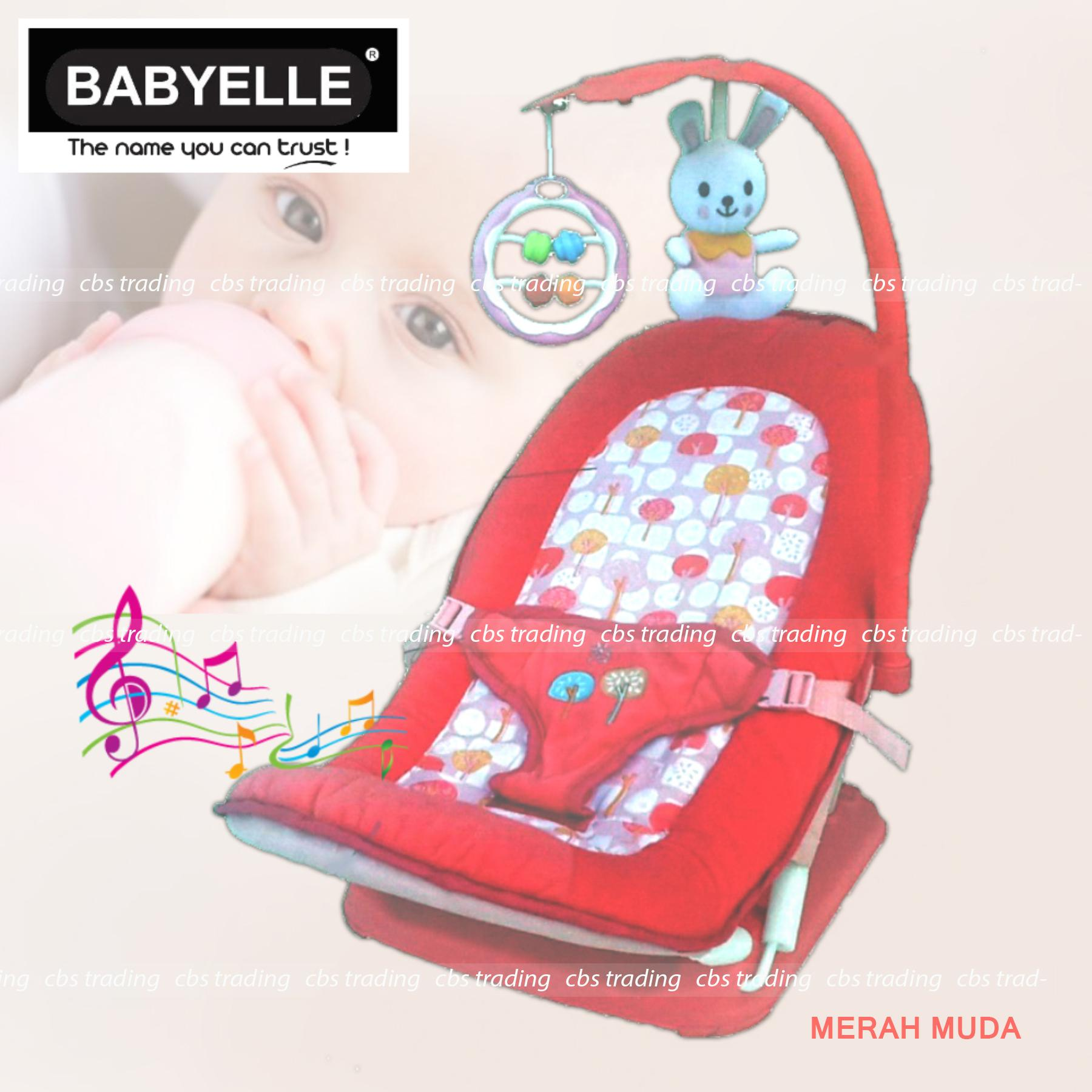 Babyelle Fold Up Infant Seat With Melodies And Soothing Vibrations - Baby Elle Kursi Lipat Bayi - Merah Muda