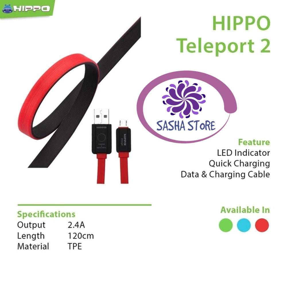 SS Kabel Data Charger Hippo Teleport Versi 2 Micro USB Fast Charging 120 Cm Samsung Xiaomi Vivo Asus Zenfone - MERAH