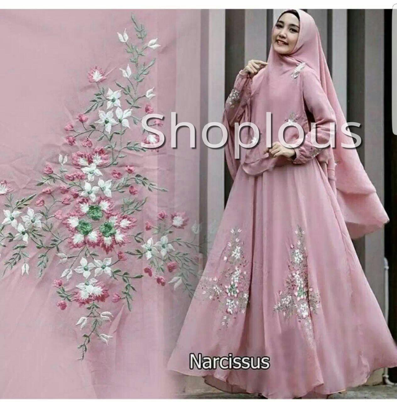 Shoplous Baju Gamis Maxi Dress Muslim Wanita Narcissus Syari ( Dapat Jilbab ) / Dress Muslim / Gamis Wanita / Baju Muslim / Hijab Muslim / Fashion Muslim / Syar'i Muslim / Maxi Dress Lengan Panjang / Gamis Modern