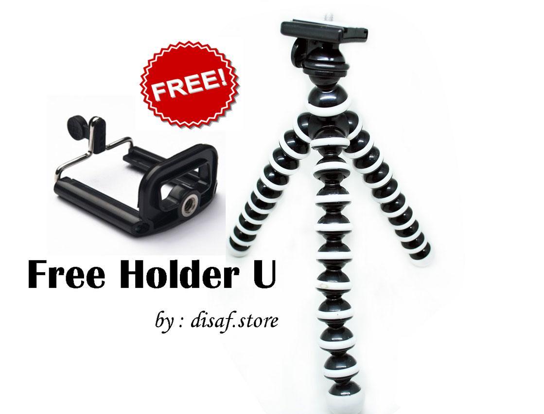 Universal Tripod Gorilla - Tripod Lentur Fleksibel Mini Untuk HP/Kamera + Holder U -