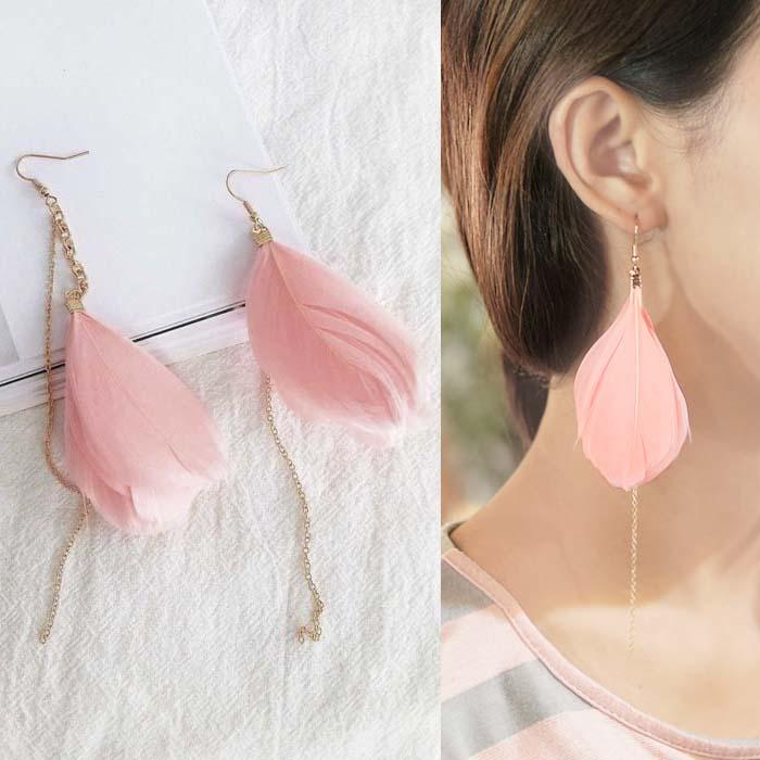 Anting Korea Exaggerated Elegant Tide Feathers Earrings DES081