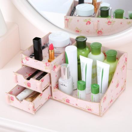 LOA - Rak Kosmetik Bahan Kayu Desktop Storage Cermin Make Up Kuas - Hpr033cx