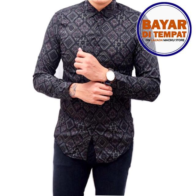 Kemeja Batik Songket Pria Lengan Panjang Slimfit Hitam / Baju batik atasan pria Long Black / kemeja batik kantor Murah Best Seller