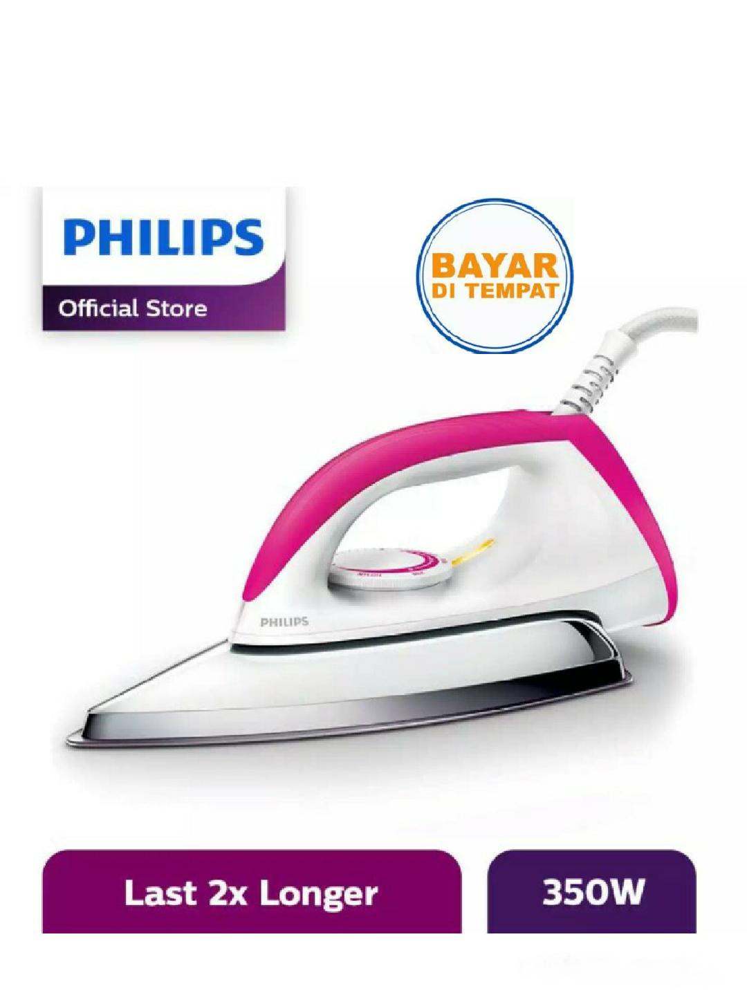 Philips Setrika HD-1173 - Putih-Pink GARANSI RESMI 1 TAHUN