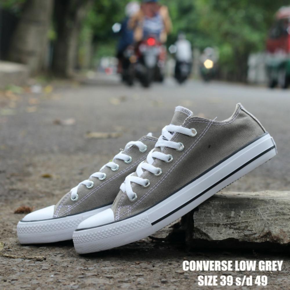 Sepatu Casual Harian Sekolah Kuliah Converse Allstar CT Mono GREY Low Pria Wanita+BOK