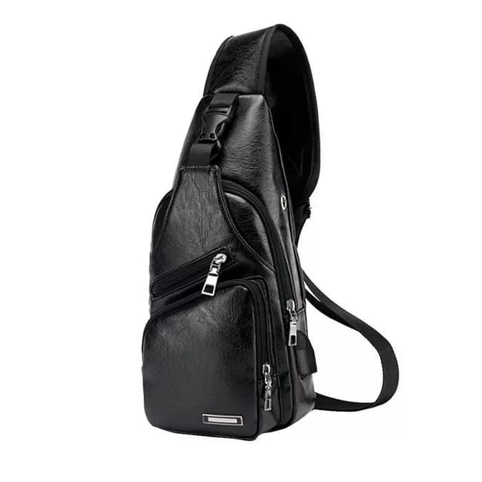 Tas selempang pria/ sling bag usb port kulit