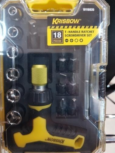 T-Handle Ratchet Screwdriver Set/ Obeng Ratchet bentuk T Krisbow 18pcs