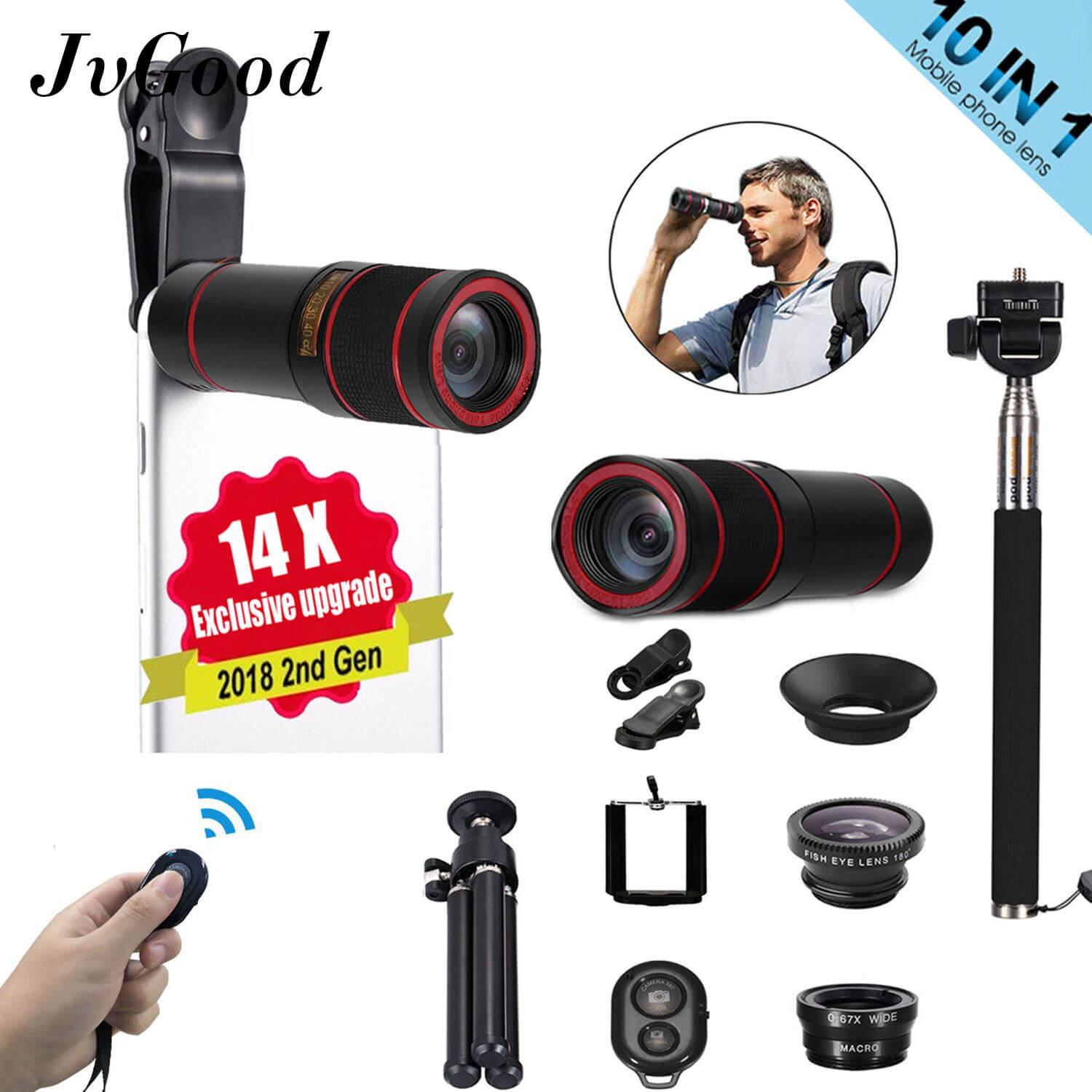 JvGood Lensa Smartphone Lensa Kamera Phone Camera Lens Set For Mobile Phone 10 In1 Travel Black Fisheye+Wide Angle+Macro+14X Telescope Telephoto Lens+Mini Tripod+Phone Holder