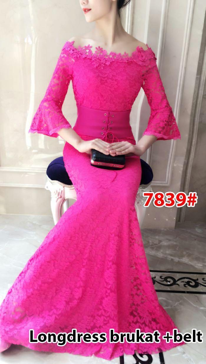 7839# baju pesta import  / gaun pesta import / baju pesta brokat / longdress fashion / gaun panjang import