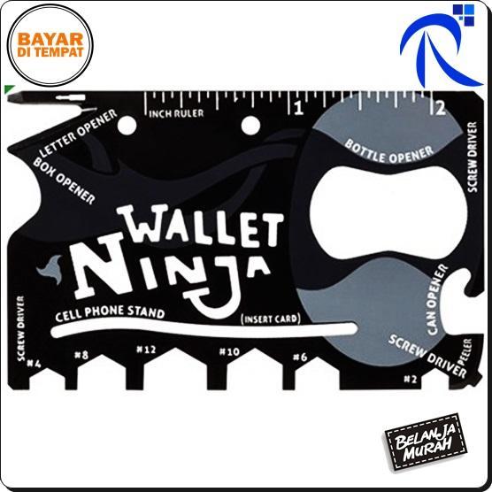 Rimas Wallet Ninja 18in1 Multi Purpose Credit Card Sized Pocket Tool 18 In 1 Baja - Black Hitam - Alat Serbaguna multifungsi Obeng Pembuka Botol Kaleng Kunci Hex Penggaris Stand Hp keren unik berkualitas FREE ONGKIR & Bisa COD.