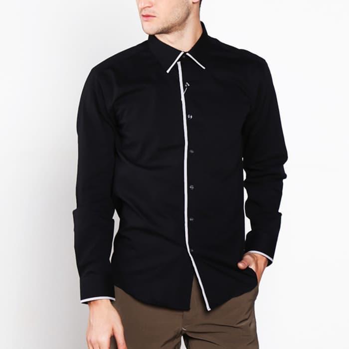 Diskon 10%!! Vm Long Shirt Black Slimsize Nf Plat 164 Hitam Kemeja Slim