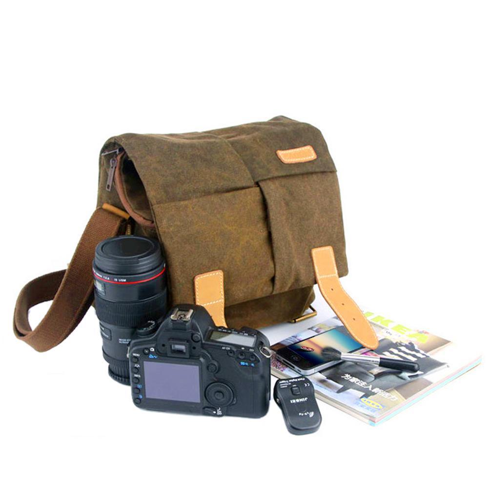 CADEN N2 Tahan Air Tas Kamera Kanvas Untuk Nikon Canon Sony Abu-abu DSLR Kamera Digital